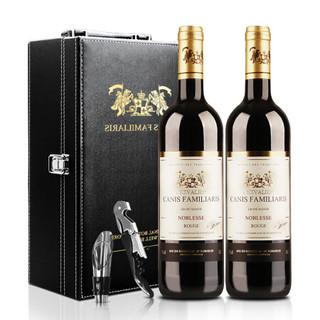 法国进口红酒 布多格骑士干红葡萄酒双支礼盒装 750ml*2瓶