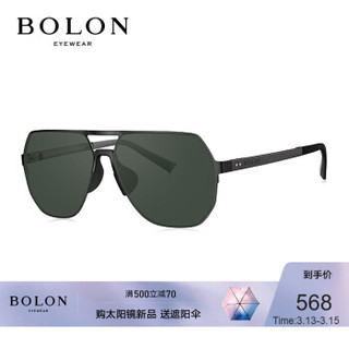 BOLON暴龙2020新款太阳镜飞行员框墨镜不规则潮开车眼镜男BL8070 C12-墨绿色