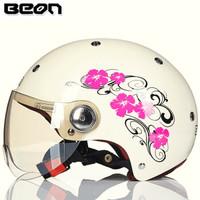 BEON摩托车头盔男女四季半盔覆式电动机车安全帽可爱轻便冬季保暖