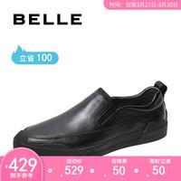 BELLE/百丽秋新商场同款轻便套脚牛皮革商务通勤休闲男皮鞋6BV02CM9 黑色 38