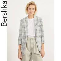 Bershka女士 2020春季新款休闲格子卷袖小西装外套女 00975168811
