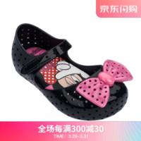 mini melissa梅丽莎19春夏Furadinha+Minnie合作款蝴蝶结小童凉鞋32459 黑色/粉色 内长15.5cm *4件