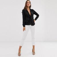 Haoduoyi通勤OL风性感西装领前中打结个性设计纯色常规款长袖衬衫