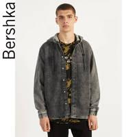 Bershka男士 2020春季新款做旧连帽宽松潮流牛仔外套 00903335892