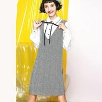 拉夏贝尔 20011262 假两件背带裙女