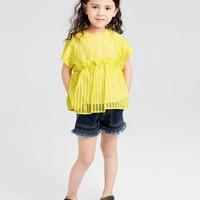 gxg.kids童装女童花色短袖儿童雪纺衫
