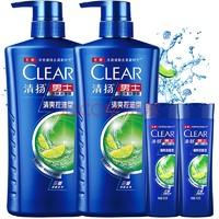 清扬(CLEAR)男士去屑洗发水套装 清爽控油型720gx2送清爽控油100gx2