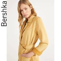 Bershka女士2020春装新款系腰带绒面人造皮收腰风衣女01357602314