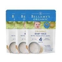 BELLAMY'S 贝拉米 婴儿有机米糊 125克/袋 4个月以上婴幼儿 3件装