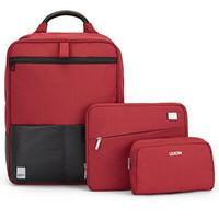 法国乐上(LEXON)双肩电脑包14英寸女商务笔记本背包平板IPAD收纳包三件套装组合  红色 *2件