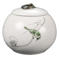 顶梵 亚光素雅系列 0513 陶瓷茶叶罐 喜鹊莲藕 900ml