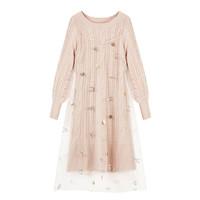 PEACEBIRD 太平鸟 女士蕾丝两件式连衣裙A1FA94299 粉色L