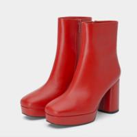 STACCATO 思加图 女士侧拉链粗高跟牛皮方头中筒女靴 9GZ02DD9 棕色 37