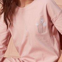 dingguagua 顶瓜瓜 女士圆领口袋印花纯棉家居服套装 粉色160
