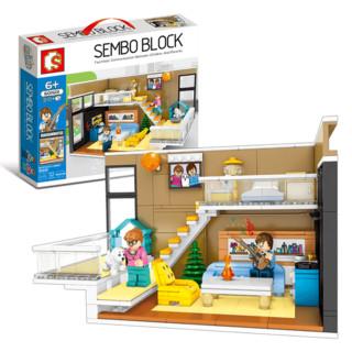 森宝积木儿童樂高积木室内场景爱情小颗粒公寓5纪念拼装玩具女孩