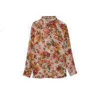 stradivarius 斯特拉迪瓦里斯 女士印花薄透长袖衬衫 06083724004 粉色 S