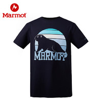 Marmot/土拨鼠新款户外男士纯棉吸汗半袖弹力轻量透气T恤