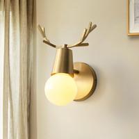 希尔顿全铜北欧鹿角壁灯客厅儿童房楼梯灯简约鹿头创意卧室床头灯