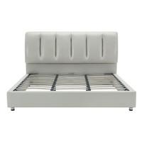 SLEEMON 喜临门 天琴湾 床柜组合 真皮靠背软床 150*200cm+床头柜*2个 米灰色