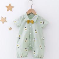 wuawua婴儿衣服纯棉夏季0-1岁男宝宝短袖领结连体衣薄款爬服哈衣