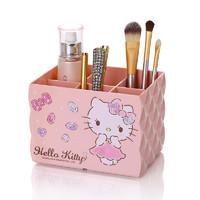 限时包邮 HELLO KITTY凯蒂猫 粉色钻石系列 塑料创意桌面收纳盒 化妆品整理盒 办公文具收纳盒 6格