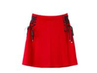 Meters bonwe 美特斯邦威 女士侧边绑带针织半身裙 758196 南美红 S