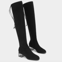 STACCATO 思加图 女士毛绒套筒粗中跟高筒靴 9EV23DC9 黑色 35