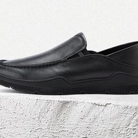 BeLLE 百丽 男士摔纹牛皮一脚套皮质正装鞋 B15C9AM0 黑色 40