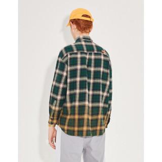 INXX 男女通用款字母印花格纹长袖衬衫 XM94282740 蓝格子 XL