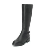 STACCATO 思加图 女款侧拉链圆头粗跟牛皮长靴 9GF15DG9 黑色 35