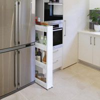 厨房夹缝置物架可移动收纳架带滑轮三层