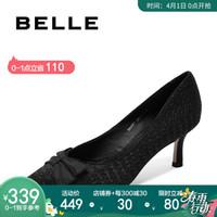 BELLE/百丽秋新商场同款亮片布细高跟女单鞋BRXW7CQ9 黑色 37