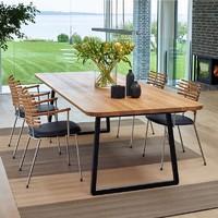 实木餐桌椅组合简约办公桌长方形书桌写字桌会议长桌铁艺实木桌椅