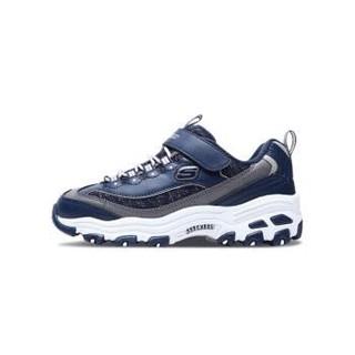 斯凯奇(Skechers)舒适透气儿童运动男女童鞋 时尚魔术贴休闲熊猫鞋 664094L多色可选 海军蓝色 32