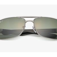 Ray-Ban 雷朋 中性款合金框方形偏光太阳眼镜 0RB3522-004/9A 绿色 64