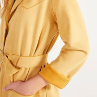 Bershka 巴适卡 女士系腰带绒面人造皮收腰风衣 01357602314 米黄色 XS