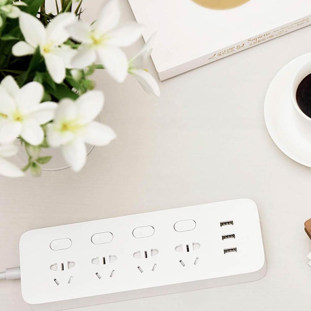YOUPIN 小米有品 米家四位四控插线板(含3口USB 2A快充)