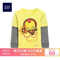 Gap男幼童假两件长袖T恤春510249 复仇者联盟系列印花洋气上衣
