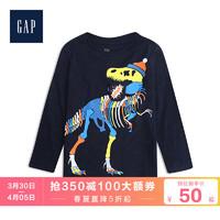 Gap男幼童圆领长袖T恤春522850 可爱印花图案儿童洋气内搭上衣