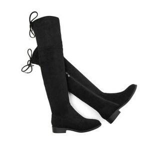 Teenmix 天美意 女款后系带绒面过膝长靴 CO590DC9 黑色 34