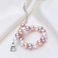 海瞳 混彩珍珠手链女8-9mm