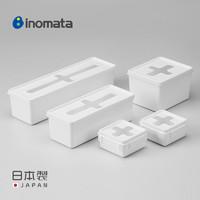 inomata日本进口带盖十字收纳盒一次性手套厨房储物盒塑料整理盒