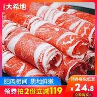【大希地】新鲜涮牛肉卷雪花肥牛卷火锅食材冷冻牛肉片250g*2包