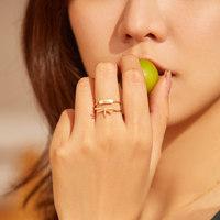有品米粉节 : 轩灵珠宝 14K黄金钻石蜻蜓组合戒指