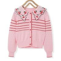 minipeace 太平鸟童装 女童樱桃刺绣针织衫