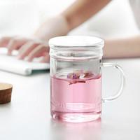 贝瑟斯 玻璃杯 茶水分离杯 双层耐热泡茶杯子 花茶杯带过滤玻璃水杯450ml *8件