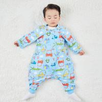 米乐鱼 婴儿睡袋儿童秋冬抱被宝宝防踢被包被分腿款 双层长袖动物车队80*52cm *2件