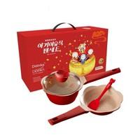 Didinika 宝宝辅食锅礼盒套装 煎锅+奶锅+盖子+勺子 红色