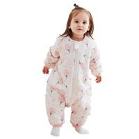 威尔贝鲁(WELLBER)婴儿睡袋宝宝防踢被可脱半袖分腿睡袋春秋梭织厚棉粉花朵85cm *2件