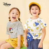 迪士尼童装男女童卡通时尚短袖t恤圆领上衣儿童宝宝男女孩T恤衫纯棉夏装汗衫